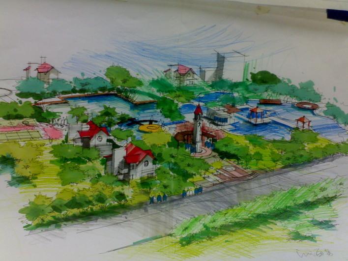 街头公园平面图手绘