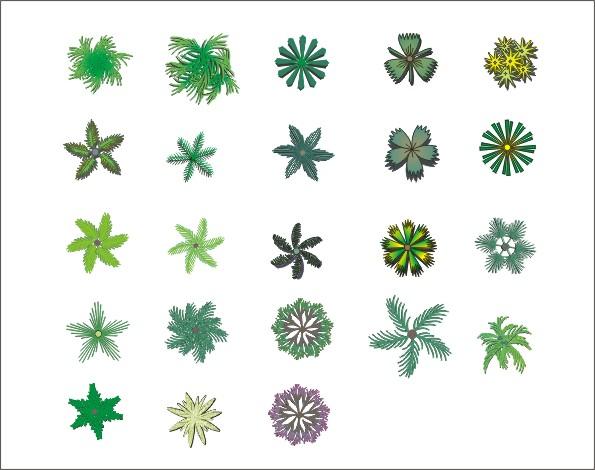 植物平面画法_cad图纸下载-土木在线