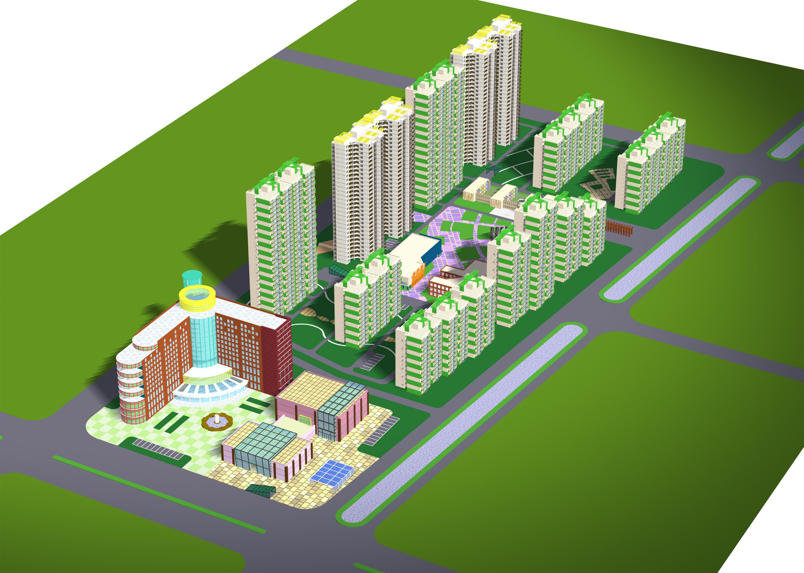 某江南小区规划设计 3dmax模型高清图片