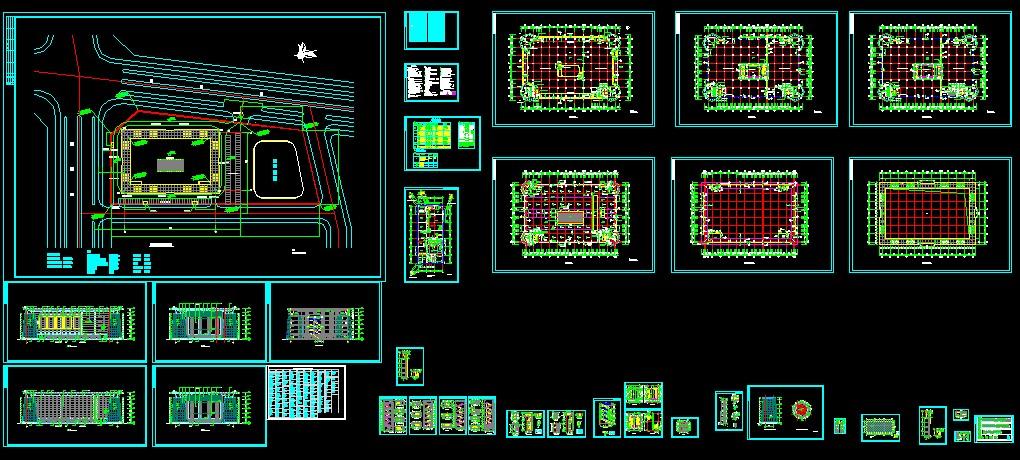 全套完整的仿古商场建筑施工图 某商场钢结构连廊结构图(改造工程) 教