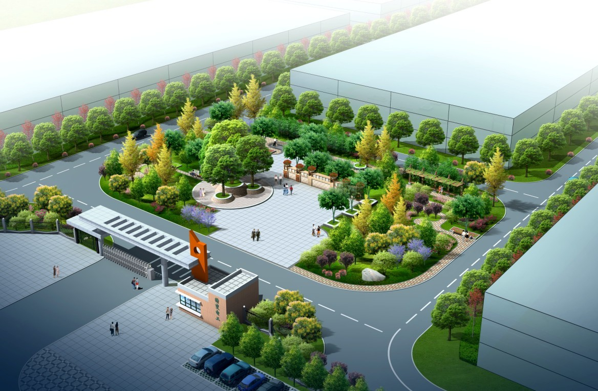 工厂入口广场效果图与平面图