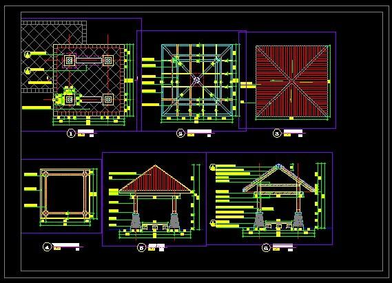 小区欧式景观亭建筑及结构全套施工图纸 古典园林古建景观亭榭设计
