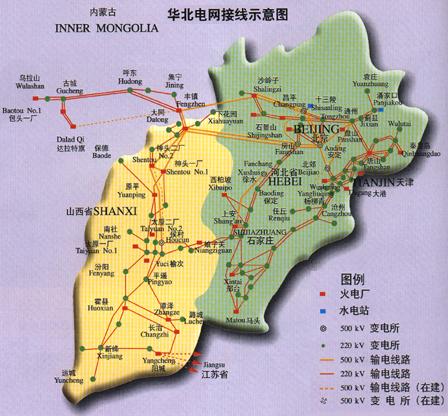华北电网示意图