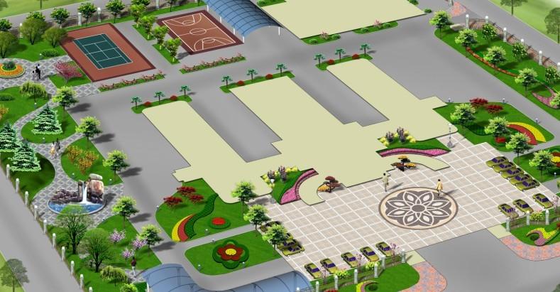 公安指挥中心绿化景观设计效果图,方案一流