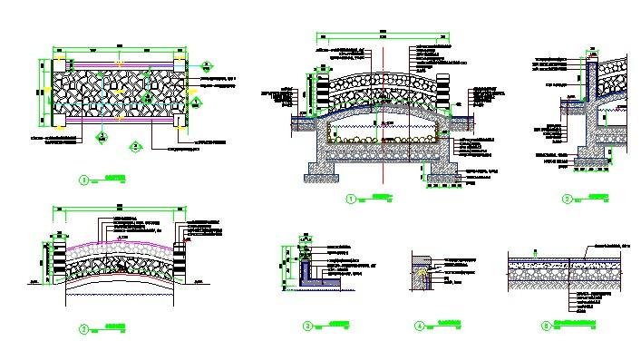 园林景观效果图  园林景观平面效果图(平面效果图)  拱桥平立面及