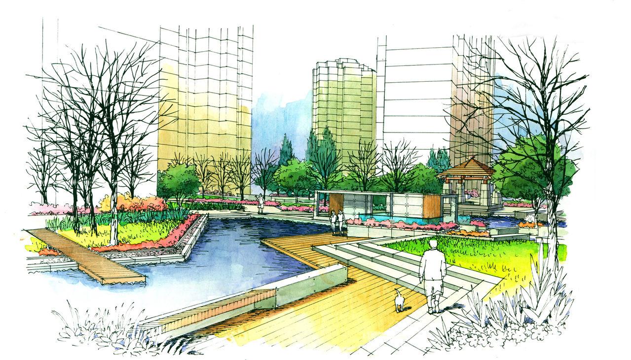 图纸 园林设计图  园林景观效果图  园林景观手绘图(手绘图)  某小区