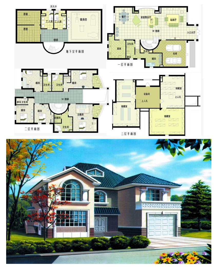 独栋别墅设计图_cad图纸下载-土木在线