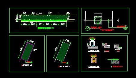 这是停车场花池的设计详图,包括基础平面,剖面图,施工详细参数设计