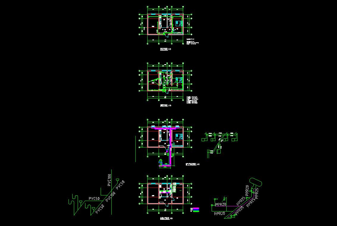 结构,水暖电) 某化工厂综合办公楼施工图纸(建结水暖电消防及效果图)