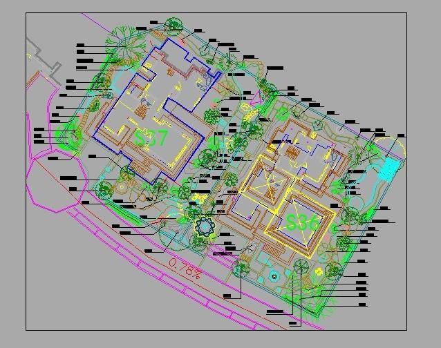 图为某校园景观绿化设计总平面,附植物配置表