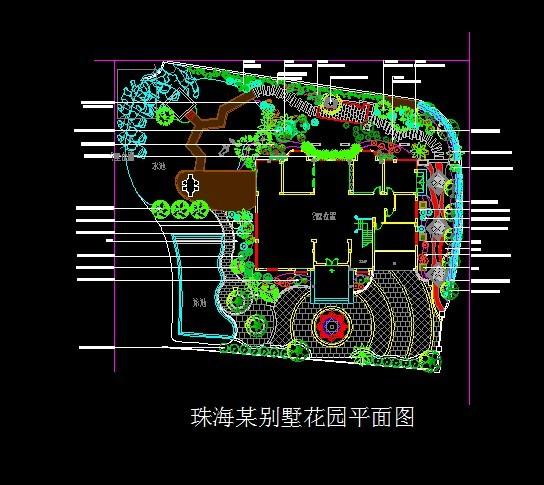 珠海某别墅绿化平面图