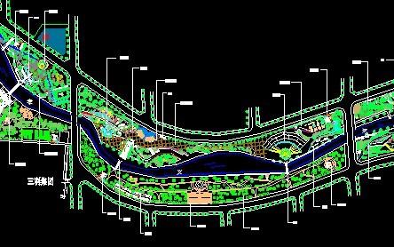 县城滨河公园景观设计图; 上饶地区某滨河公园景观带全套绿化施工图