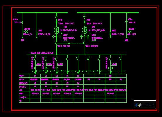 双变压器设备一次土木控制图_CO系统在线(原cad装饰画中式图片