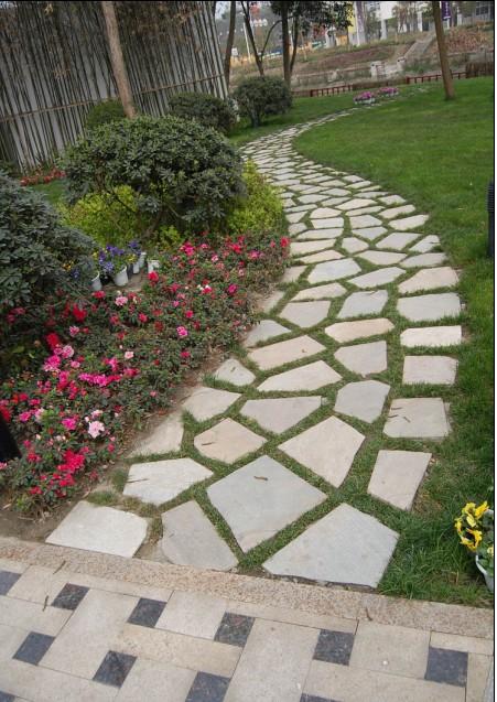 防腐木枋青石坐凳,花池-干堆石块,树池-自然堆石树池,休憩汀步道选型