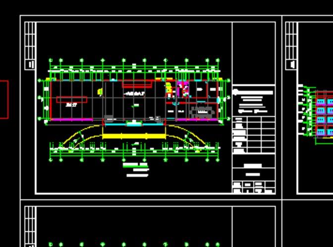 某7层住宅带车库建筑平面图,立面图,剖面图 某小区东入口的景观大道的