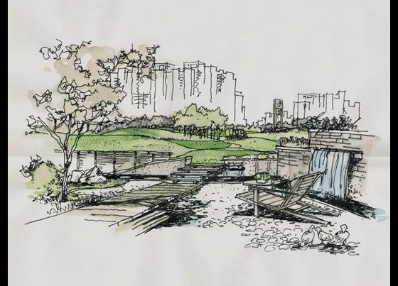 住宅小区景观手绘图