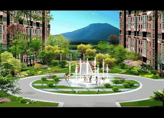 图纸 园林设计图 园林景观效果图 园林景观立面效果图 某小区局部喷泉