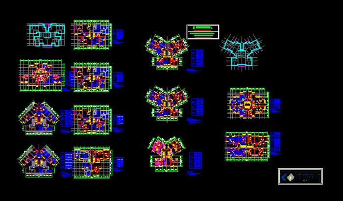 典型的塔式高层住宅户型图