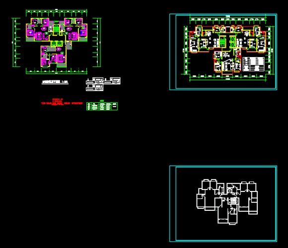 一梯三户住宅楼建筑设计方案 高佳苑小区户型一梯三户一梯两户平面图.