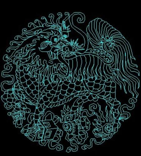 一个很精致的圆形麒麟图案cad版