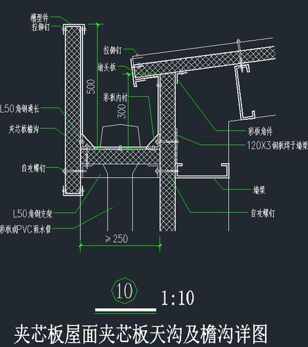 屋面内天沟_夹芯板屋面夹芯板 天沟 及檐沟详图