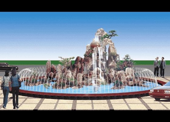 假山喷泉效果图