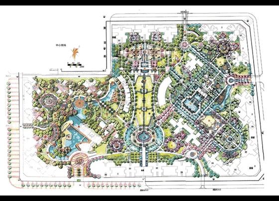 园林景观效果图 园林景观手绘图