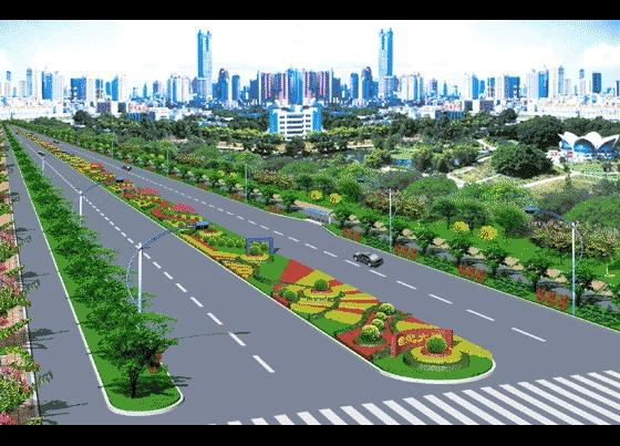 道路绿化景观效果图