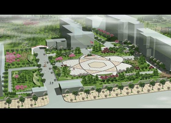 校园绿化设计效果图高清图片