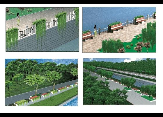 园林景观效果图  园林景观立面效果图(立面效果图)  河道驳岸绿化设计