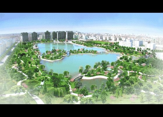 图纸 园林设计图 园林景观效果图 园林景观鸟瞰图 某大型小区中心公园