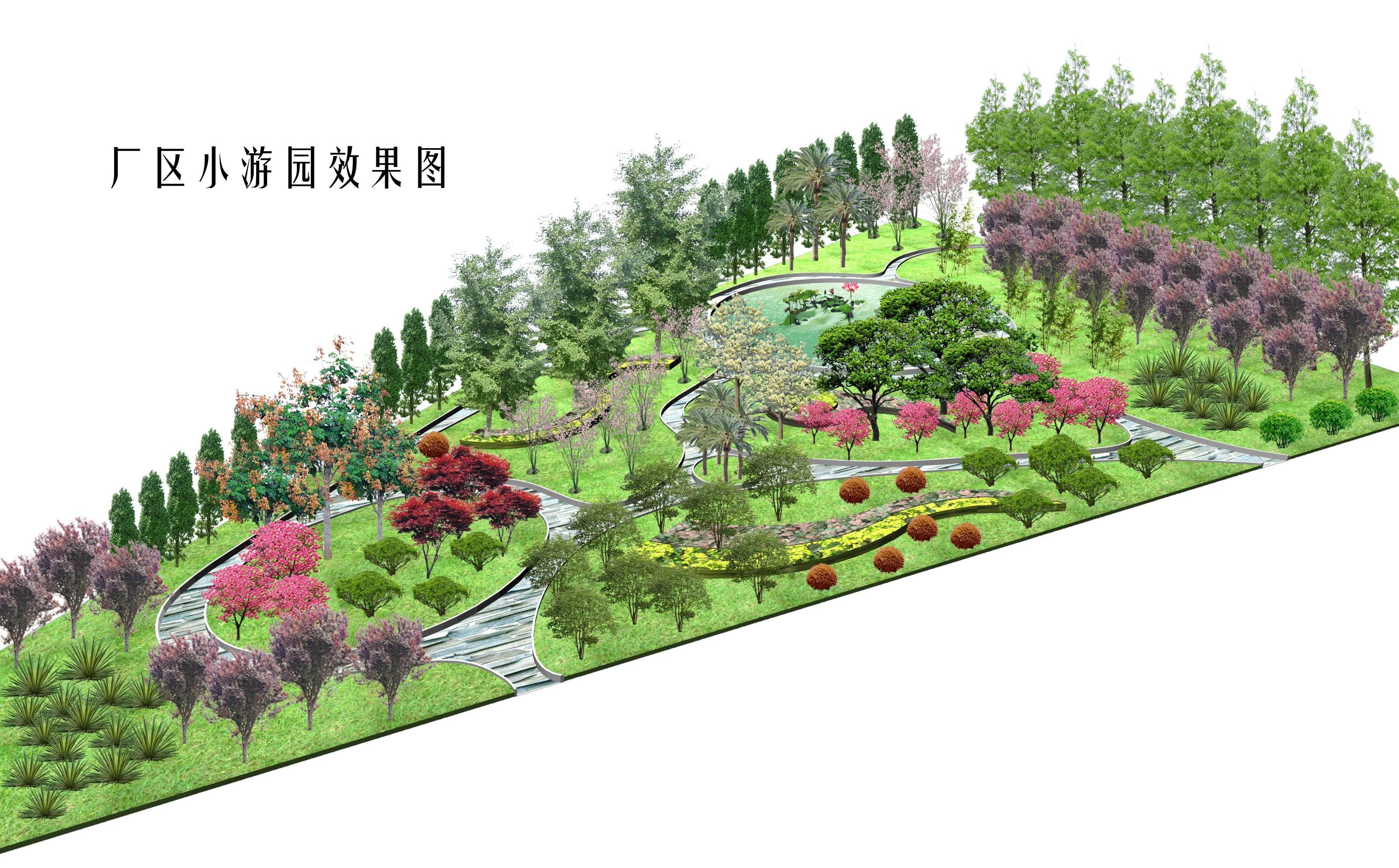 园林绿化及施工 办公楼及厂区绿化设计图 镇江某厂区绿化效果图  上传
