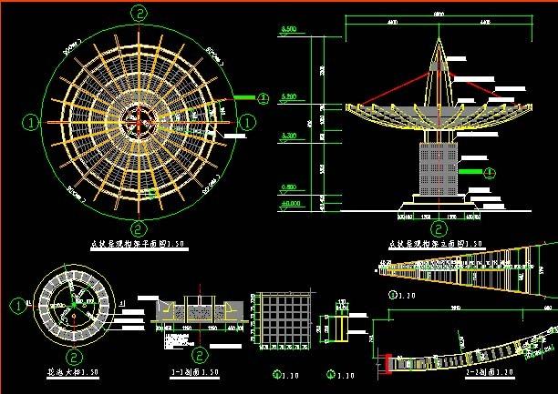 圆形花架设计图,其形象更接近于亭,而不同于一般的廊架式花架,建成后
