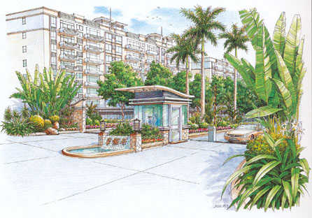 小区景观设计方案手绘图