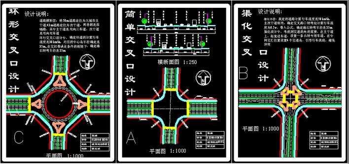 道路交叉口线形平面  (708x334);     :        道路交叉口线形平面图片