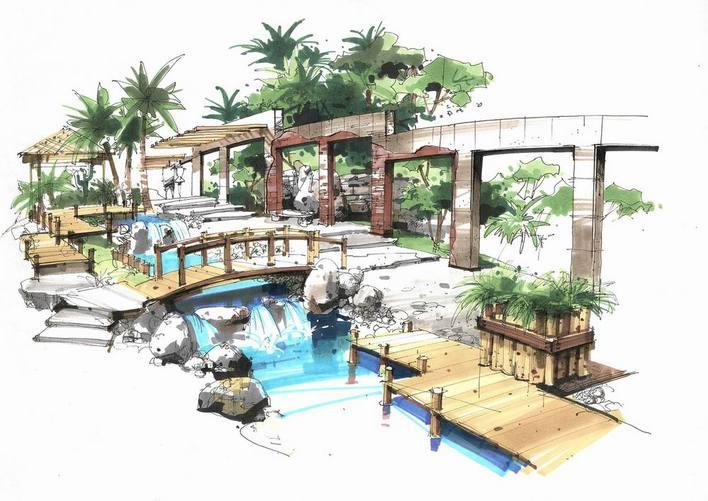 园林设计图  潇湘河滨绿化景观    本方案为云南省曲靖市环城水系景观