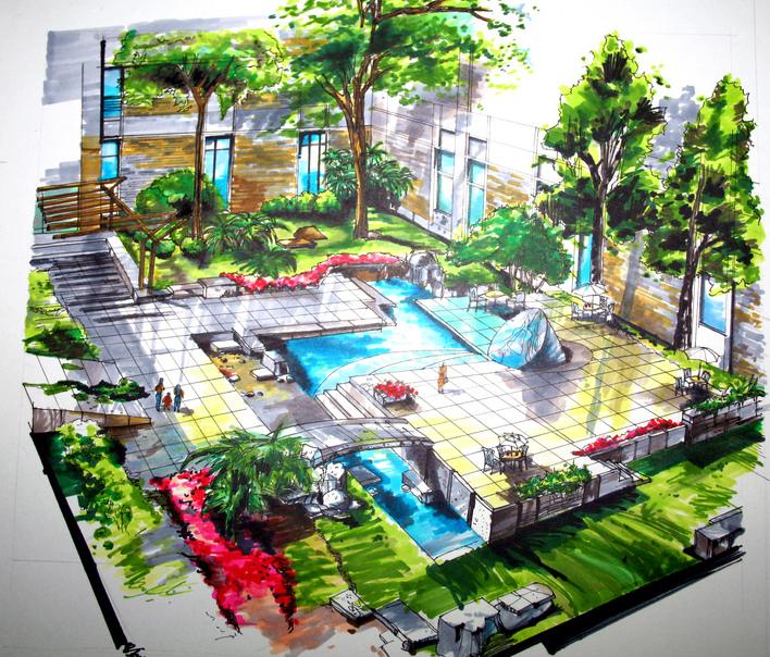 校园空间景观手绘图