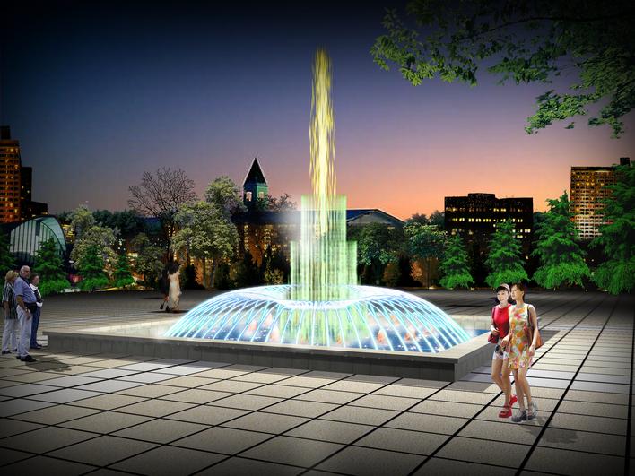 立面喷泉手绘效果图
