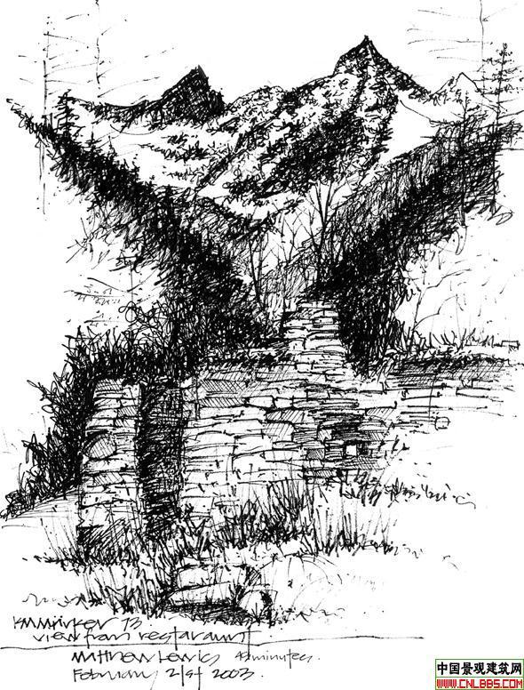 图纸 园林设计图 钢笔画表现技法2  投稿网友:wangzhen20004348 上传