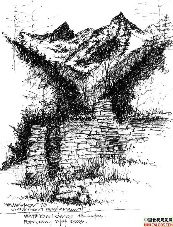图纸 园林设计图  钢笔画表现技法2   练习之用   相关专题:手绘效果