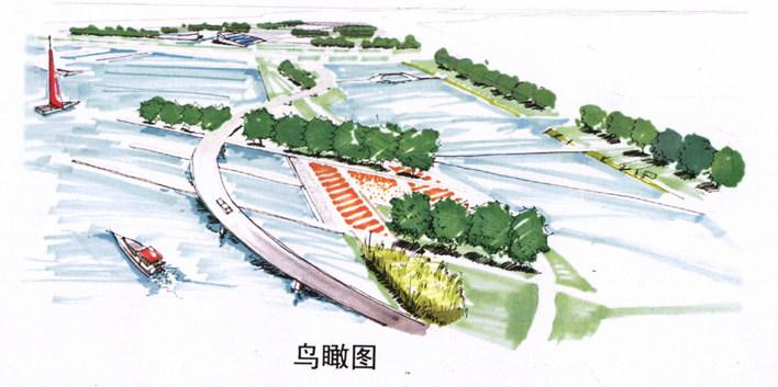 公园水池手绘透视图