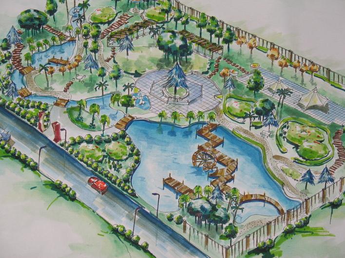 图纸 园林设计图  园林景观效果图  园林景观手绘图(手绘图)  手绘