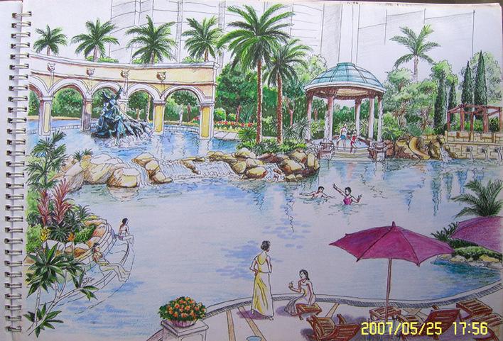 景观亭子手绘效果图