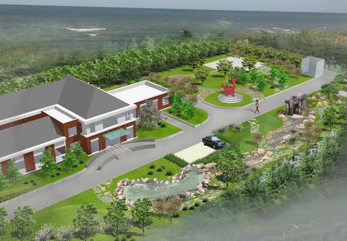 图纸 园林设计图 园林景观效果图 园林景观鸟瞰图 办公楼周围景观设计