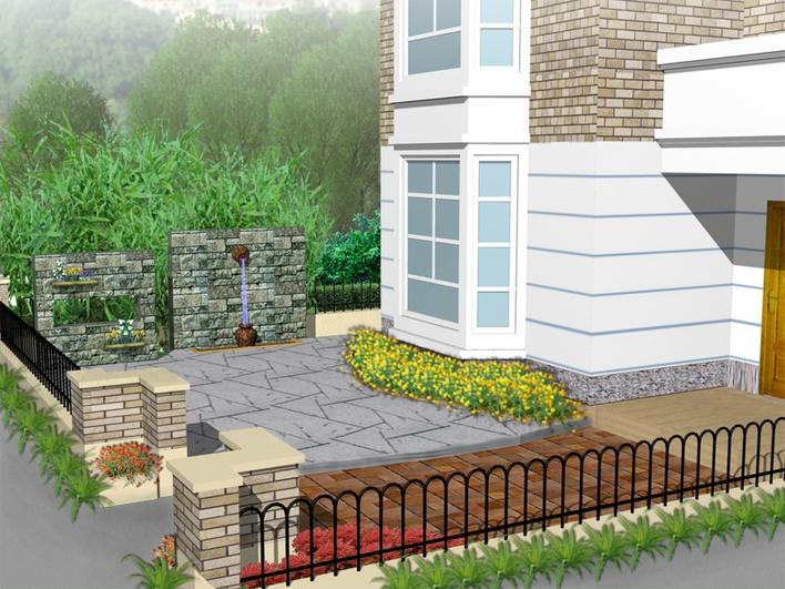 庭院大门效果图 别墅庭院绿化设计效果图