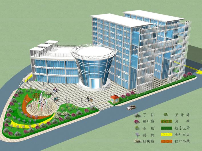 办公楼前绿化效果图