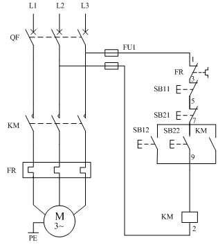 电动机两地控制原理图,接触器控制电机线路,双速电机控制线路,限位