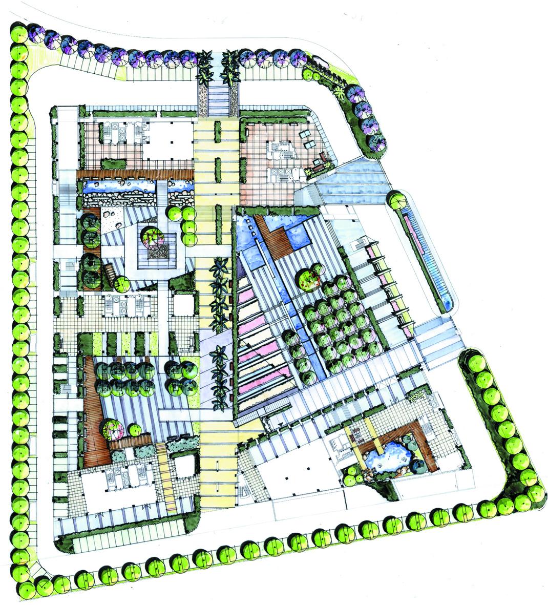 文化景观广场手绘剖面图
