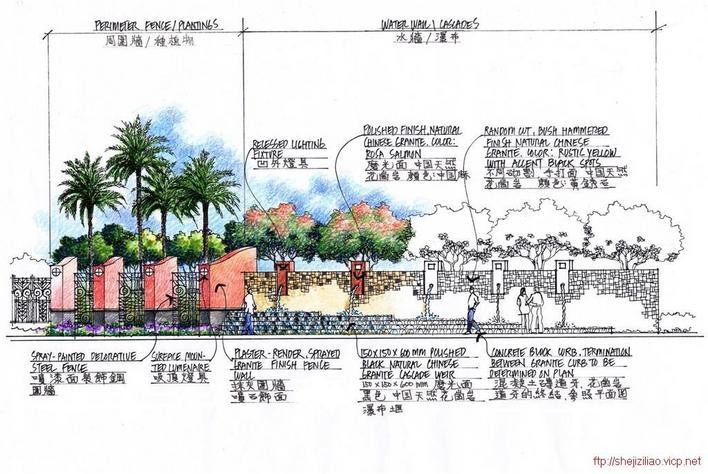 大量贝尔高林手绘透视图,施工图