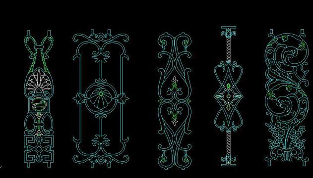 图纸 建筑图纸 各种铁花样式立面; 欧式铁花cad立面图; 各种铁花样式